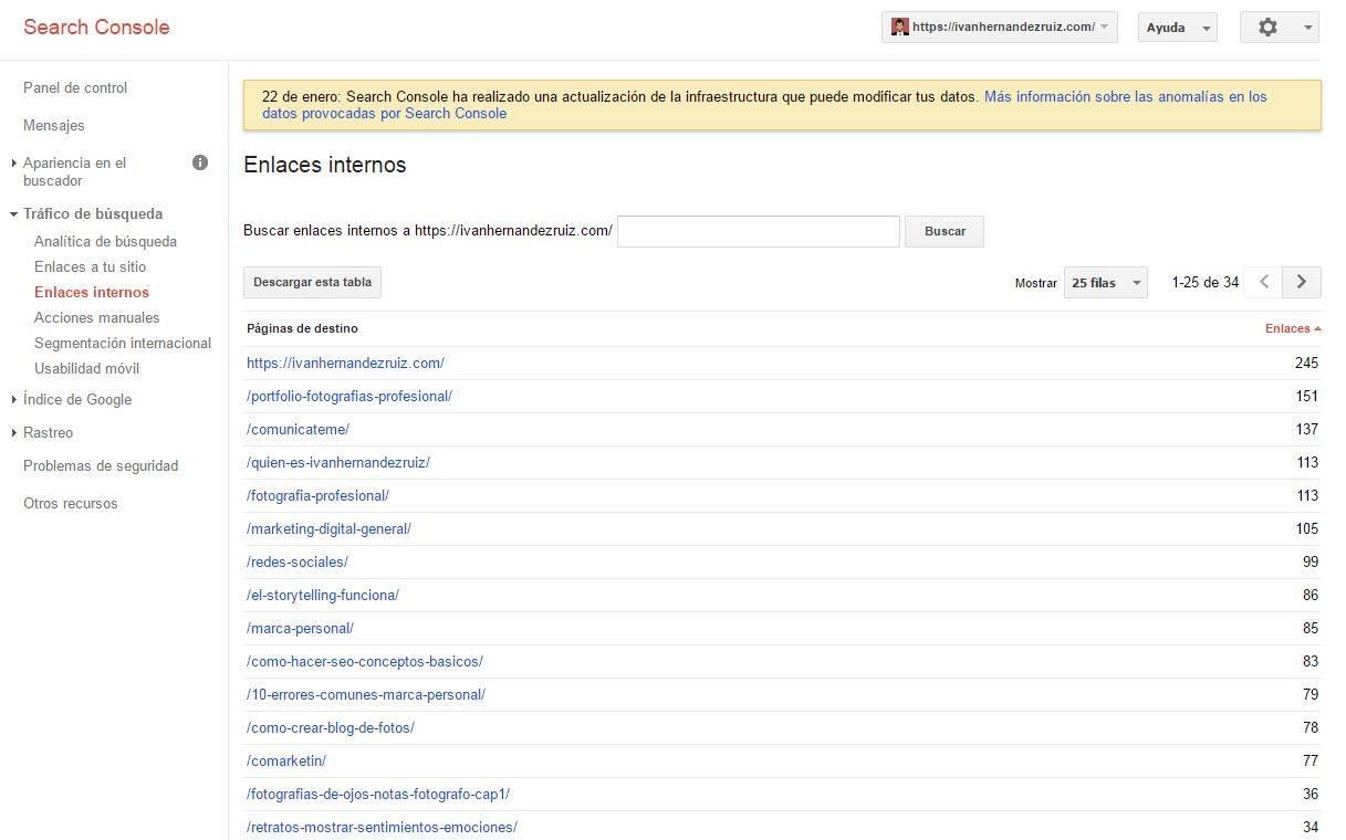 Enlaces internos en Search Console