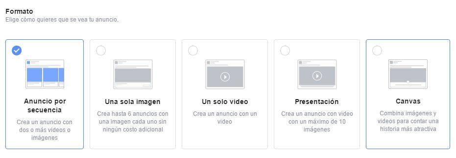Formatos de campaña Facebook Ads