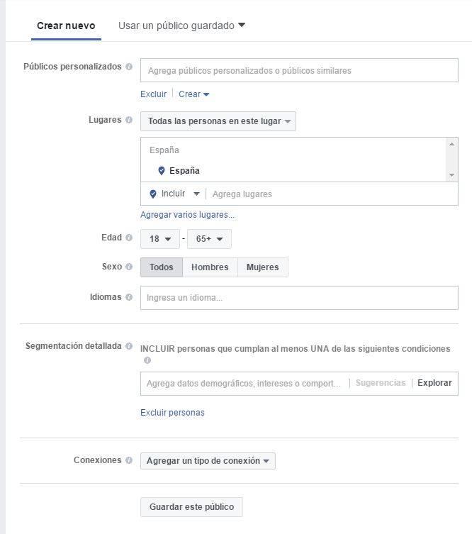 Segmentacion de campaña Facebook Ads
